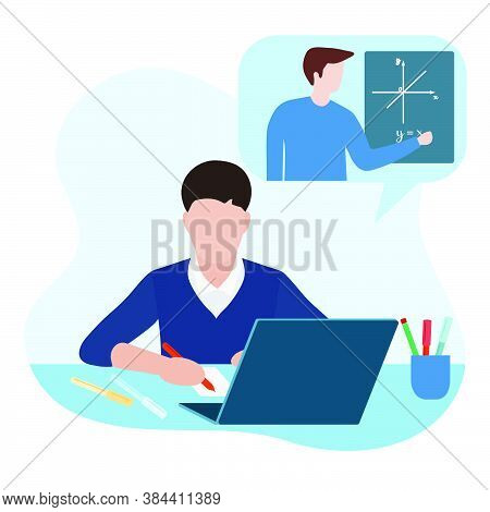 Vector Illustration Distance Education. Distance Learning. Online Education. Studying At Home. Child