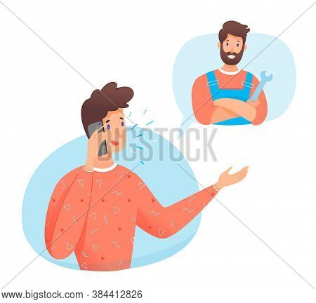 Young Man Calling Repairman By Smartphone. Handsome Guy Talking Phone And Plumber Holding Wrench Cro
