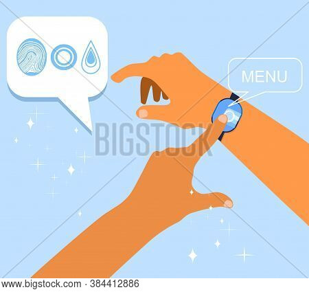 Force Touch Technology Concept. Human Hand Uses Pressure Sensors On Digital Smart Watch Display. Var