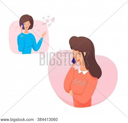 Women Talking Phone. Girlfriends Phoned Chatting About Cosmetics, Relationships. Close Relations Of