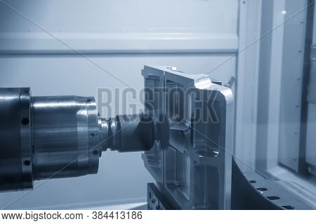 The Horizontal Cnc Milling Machine Cutting The Vacuum Mold Part. The Hi-technology Mold And Die Manu