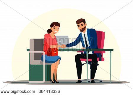 Boss Hiring Job Seeker After Successful Job Interview. Employer Handshaking Woman Newcomer Employee.