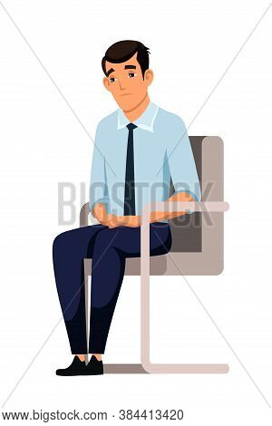 Sad Man Job Seeker, Vacancy Candidate, Applicant Sitting On Chair. Failure Interview, Disappointment