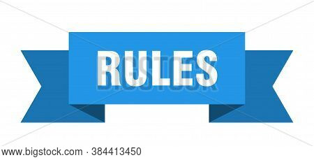 Rules Ribbon. Rules Isolated Sign. Blue Banner