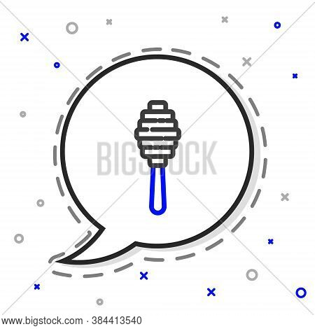 Line Honey Dipper Stick Icon Isolated On White Background. Honey Ladle. Colorful Outline Concept. Ve