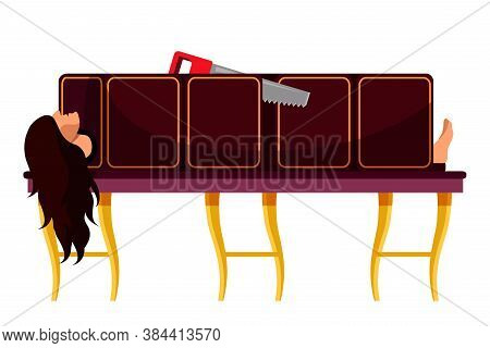 Trick With Sawing Woman. Assistant Young Girl Character Lying In Wooden Box Cutting With Saw. Magic