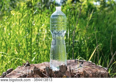 Transparent Bottle With Water On A Tree Stump In The Grass At The Summer, Thirst Quencher Concept. W
