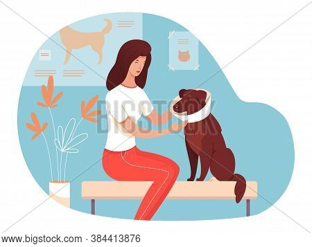 Woman Pet Owner Character With Sick Dog Wearing Protective Collar Sitting And Waiting For Veterinari