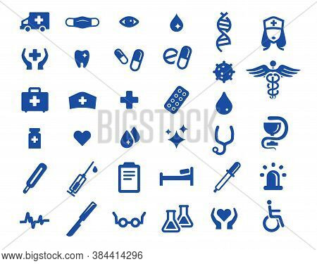 Medical Icons Set. Collection Of 34 Icons. Hospital Symbols. Icons For Website Design. Medical Desig