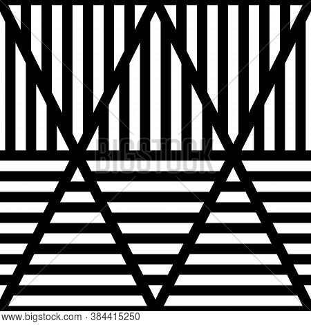 White Lines On Black Background. Seamless Surface Pattern Design With Linear Ornament. Strokes Wallp