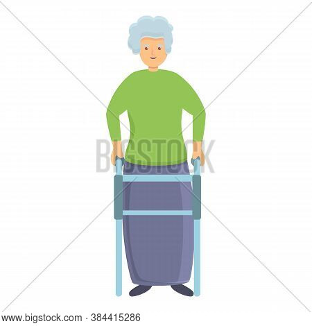 Smiling Granny With Walker Icon. Cartoon Of Smiling Granny With Walker Vector Icon For Web Design Is
