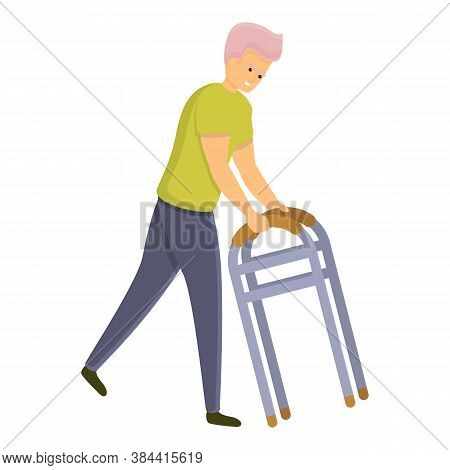 Young Boy Use Walker Icon. Cartoon Of Young Boy Use Walker Vector Icon For Web Design Isolated On Wh