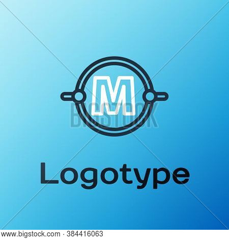 Line Electric Circuit Scheme Icon Isolated On Blue Background. Circuit Board. Colorful Outline Conce