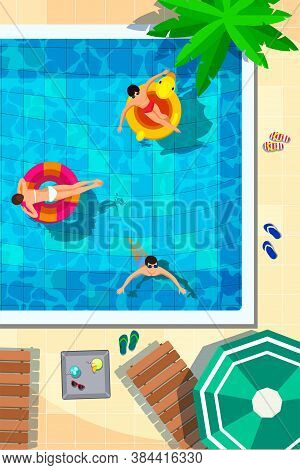 Swimming Pool In Top View Background. People Swimming, Relax, Place For Summer Fun And Parties. Sun