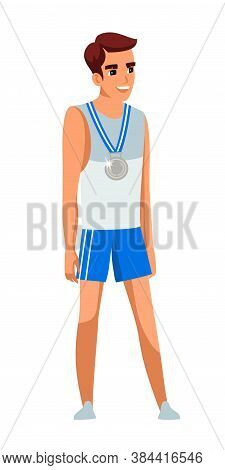 Happy Smiling Young Sportsman In Sportswear With Medal On Neck Standing Isolated On White Background