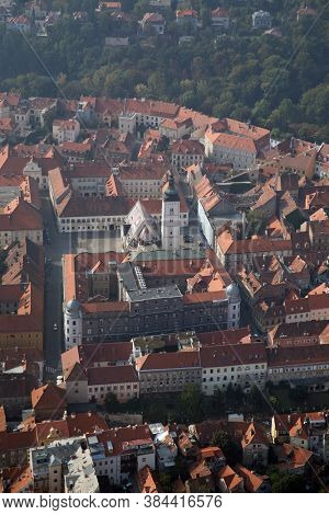 ZAGREB, CROATIA - OCTOBER 29, 2012: Zagreb Panorama with Church of St Mark in Zagreb, Croatia
