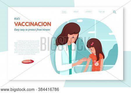 Schedule Children Vaccination Consultation Vector Landing Page. Healthcare, Medical Treatment, Preve