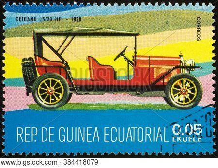 Moscow, Russia - September 07, 2020: Stamp Printed In Equatorial Guinea Shows Retro Car Ceirano 15/2