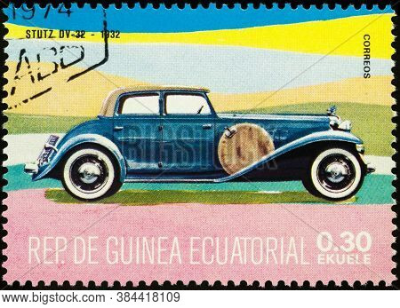 Moscow, Russia - September 08, 2020: Stamp Printed In Equatorial Guinea Shows American Luxury Retro