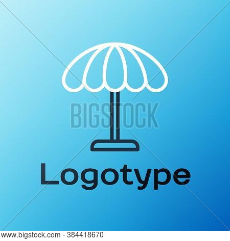 Line Sun Protective Umbrella For Beach Icon Isolated On Blue Background. Large Parasol For Outdoor S
