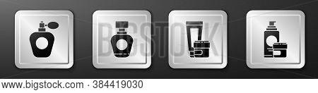 Set Perfume, Perfume, Cream Or Lotion Cosmetic Tube And Cream Or Lotion Cosmetic Tube Icon. Silver S