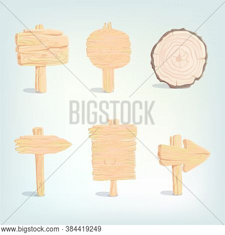 Wooden Signboards, Cartoon Wood Arrow Plank In Vintage Style. Old Wood Blank Banner Hanging, Empty S