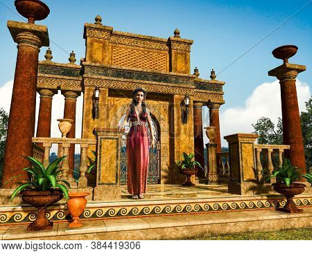Beautiful Woman, Dressed In Greco Roman Fashion, Standing In Front Of An Antique Garden Balustrade E