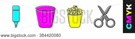 Set Marker Pen, Trash Can, Full Trash Can And Scissors Icon. Vector