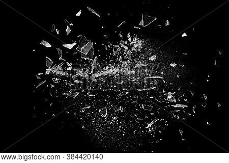 Broken Glass On The Black Bachground. Texture Of Broken Glass. Isolated Realistic Cracked Glass Effe