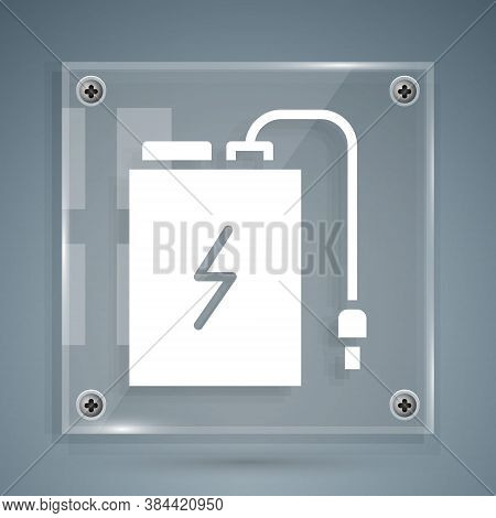 White Power Bank With Different Charge Cable Icon Isolated On Grey Background. Portable Charging Dev