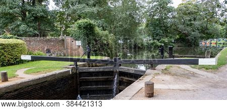 Millmead Lock Gates On The River Wey At Guildford, Surrey