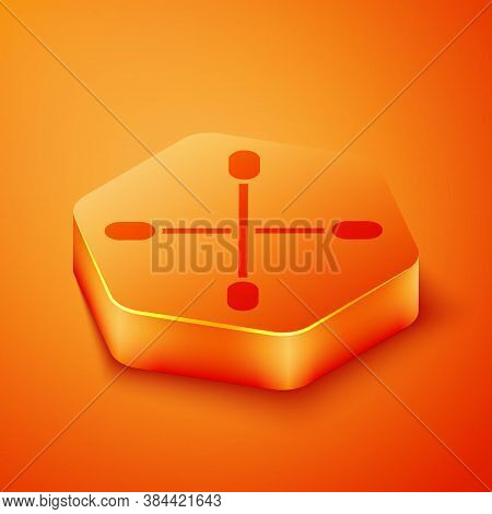 Isometric Cotton Swab For Ears Icon Isolated On Orange Background. Orange Hexagon Button. Vector Ill
