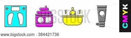 Set Bathroom Scales, Cream Or Lotion Cosmetic Tube, Bathtub And Cream Or Lotion Cosmetic Tube Icon.