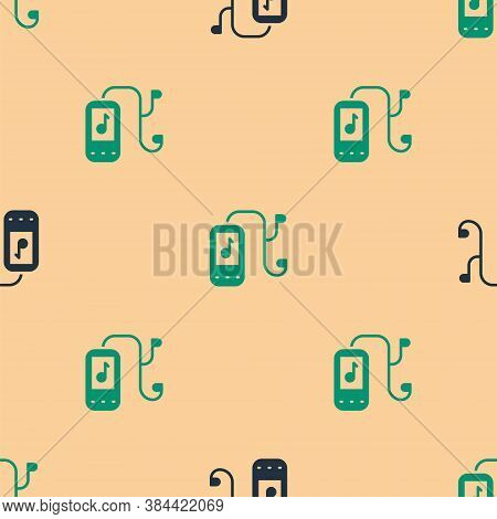 Green And Black Music Player Icon Isolated Seamless Pattern On Beige Background. Portable Music Devi