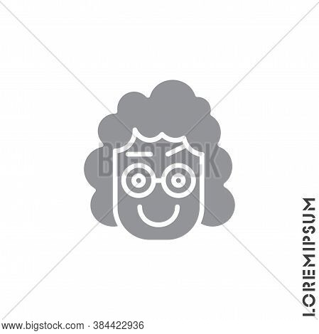 Big Smile Contented Smile With Raised Eyebrow Emoticon Girl, Woman Icon Vector Illustration. Style.