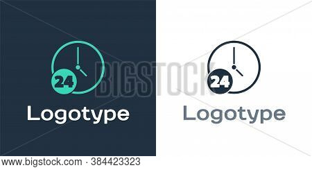 Logotype Clock 24 Hours Icon Isolated On White Background. All Day Cyclic Icon. 24 Hours Service Sym