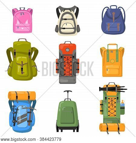 Colorful Backpacks Set. Bags For School, Camping, Trekking, Mountain Climbing, Hiking. Flat Vector I