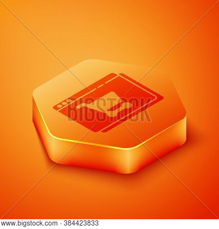 Isometric Online Shopping On Screen Icon Isolated On Orange Background. Concept E-commerce, E-busine