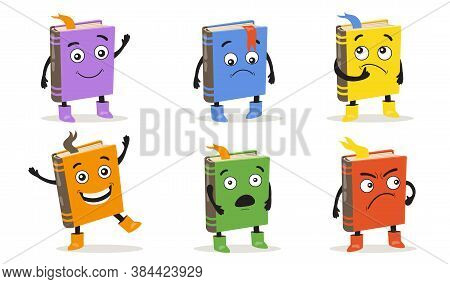 Cartoon Books Set. Cite Funny Character With Different Emotions, Smiling Or Pensive Face On Cover, C
