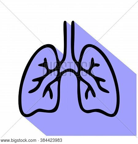 Lungs Flat Line Icon. Vector Thin Pictogram Of Human Internal Organ, Outline Illustration For Pulmon