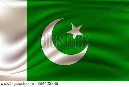 Flag Of Pakistan. Realistic Waving Flag Of Islamic Republic Of Pakistan. Fabric Textured Flowing Fla