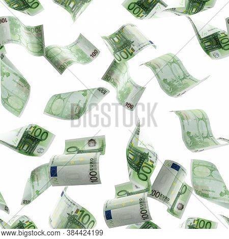 Money Stack Seamless Pattern. Falling Banknotes. European Money On White Isolation Background.
