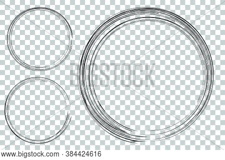 3 Hand Draw Sketch Circle Frame From Multiple Black Thic Market For Your Element Design, Transparent