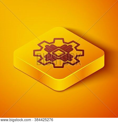 Isometric Line Processor Icon Isolated On Orange Background. Cpu, Central Processing Unit, Microchip