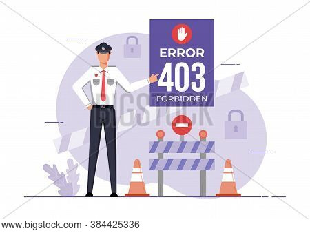 An Illustration For Page 403 Error Forbidden Site. Connection Error Access Denied.
