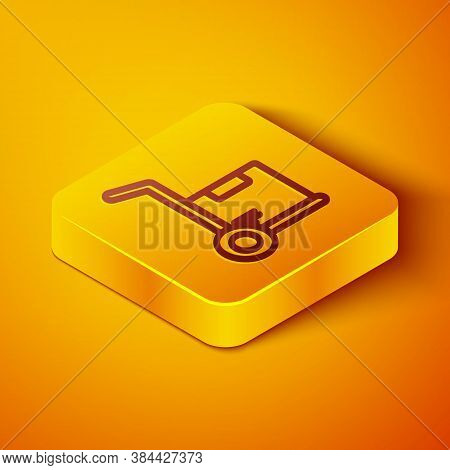 Isometric Line Hand Truck And Boxes Icon Isolated On Orange Background. Dolly Symbol. Yellow Square