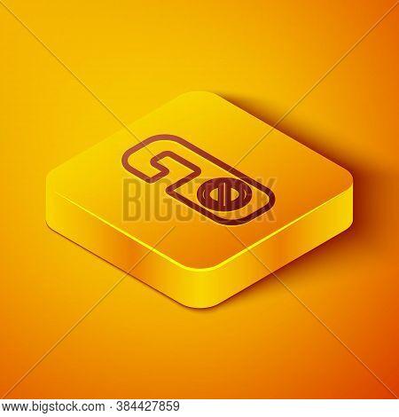 Isometric Line Please Do Not Disturb Icon Isolated On Orange Background. Hotel Door Hanger Tags. Yel