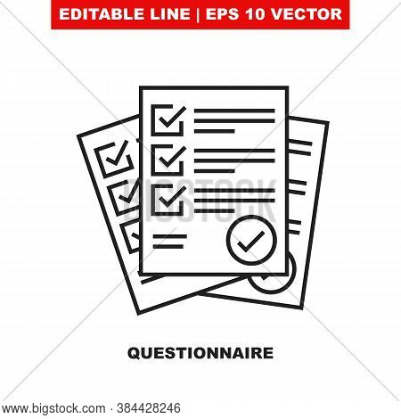 Questionnaire Checklist Form. Editable Line Vector Icon Illustration Designed As A Sign Of Brief Sur