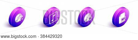 Set Isometric Vinyl Disk, Music Note, Tone, Vinyl Disk And Mp3 File Document Icon. Vector