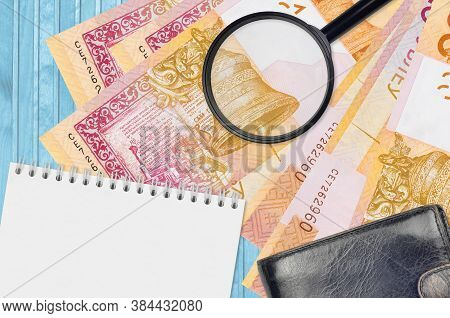 20 Belorussian Rubles Bills And Magnifying Glass With Black Purse And Notepad. Concept Of Counterfei